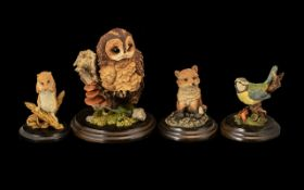 Country Artist Porcelain Figures comprising 'Tawny Owl' CA 537; 'Baby Blue Tits' CA603; 'Harvest