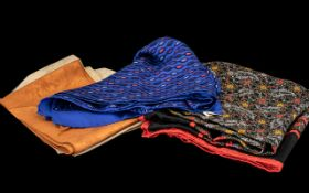 Collection of Jaeger 100% Silk Scarves comprising two small squares embossed with Jaeger name; a