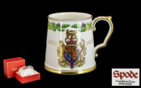 Spode Queens Silver Jubilee Bone China Tankard 1952 - 1977, in original box and as new condition.