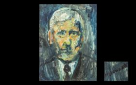 James Lawrence Isherwood 1917-1988 Titled 'A Portrait of Lowry' at 80. Oil on board. Signed by