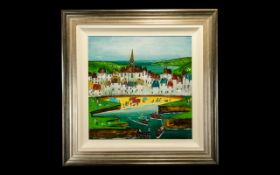 Roseanne Bell Painting 'Harbour' original oil on board signed, mounted and framed. Painting size