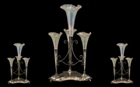 Silver Plate Epergne. Victorian silver plate 4 piece Epergne, with 4 glass iridescent tulip design