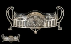 Early 20thC German Silver Plated Centrepiece With Original Shaped & Etched Glass Liner, Twin Handled
