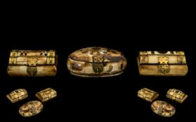 Three Assorted Middle Eastern Horn Boxes with brass hinges. Two in the form of caskets and one of