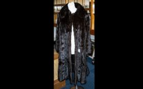 Vintage Full Length Mink Coat in rich dark brown, with collar and hook and eye fastening, and two