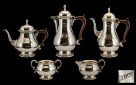 Early Elizabeth II, 1960's Contemporary Superb Quality Sterling Silver 5 Piece Tea and Coffee