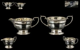 Art Deco Period Pleasing Sterling Silver Pair of Milk Jug and Sugar Bowl with Attractive Borders.