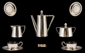 Austrian - Hungarian 1872 - 1922 Novelty Toy Seven Piece Silver Coffee Set ( for Two ) Well