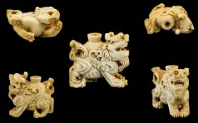 Japanese - 19th Century Excellent Group Ivory Scent Bottle In the Form of a Shi Shi Lion. c.1880.