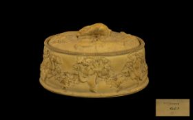 Antique Wedgwood Biscuit Pottery Game Dish & Lid with a rabbit finial handle, the body depicting