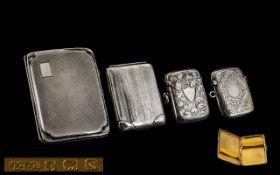 Early 20thC Pair of Stunning Silver HInged Vesta Cases hallmark Birmingham 1919. Plus a small ladies