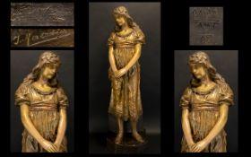 Frederick Goldscheider 1845 - 1897 Signed Large and Impressive Female - Exhibition Figurine - Titled