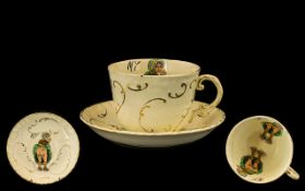 A 19thC Oversized 'My My My' Cup and Saucer both the saucer and cup depicting a cheeky scene of a