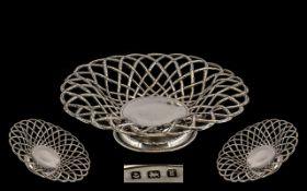 Edwardian Period Basket Weave Design Sterling Silver Footed Fruit Bowl. Hallmark Birmingham 1906,