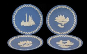 Collection of Wedgwood Blue Jasper Christmas Plates. Early editions, Year No. 2. 1970 - Year No. 8