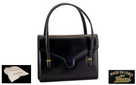 Gucci Italian Leather Ladies Handbag in navy blue leather with inside zipped compartment and stud
