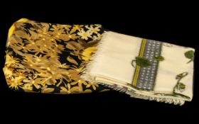 Two Vintage Harrods Scarves comprising 1950s warm feel fine wool scarf 28'' square, cream ground