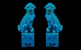 Chinese Turquoise Glazed Pair of Temple Foo Dogs of typical form, standing on square bases. Late