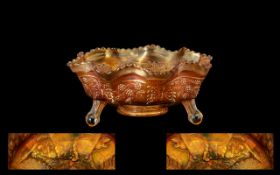 Rare Orange Carnival Glass Footed Bowl - depicting two tigers amongst foliage, with a floral