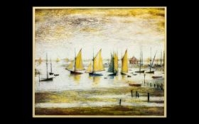 L.S. Lowry 1887 - 1976 A Coloured Lithograph Print - titled 'Yachts at Lytham' painted by Lowry in