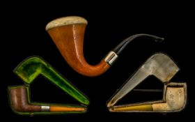 Meerschaum Real Block Pipe with gold band and amber stem, made in Austria,