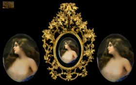 Vienna - Superb Quality Hand Painted Porcelain Wall Plaque Signed Wagner c.1890's. Impressed Mark to
