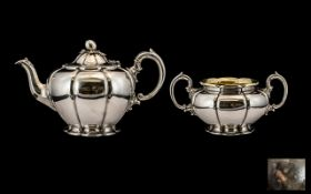 Barnard Brothers - Superb Quality Matched Silver Teapot and Large Twin Handle Sugar Bowl, Melon