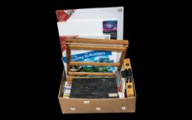 Artists Collection of Canvas & Brushes to include three large canvases, an easel, a collection of