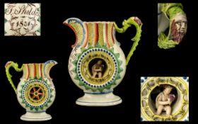 Rare Antique Staffordshire Tin Glazed Pottery Pratt-Ware Type Jug of unusual form. To the centre