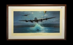 Signed Dambusters Print - The Impossible Mission by Robert Taylor. Mounted and framed behind