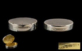 Elizabeth II Contemporary Oval Shaped Solid Silver Pill Boxes ( 2 ) In Total. Marker Peter John