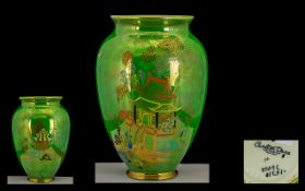 Carlton Ware Lustre Vase of Ovoid Form apple green colourway with handpainted panels in enamels.