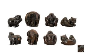 20th Century Collection of Carved Boxwood Netsukes 4 in Total - various subjects. Elephant