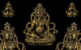 Fine Quality Antique Sino-Tibetan Bronze Gilded Figure of a Chinese Deity sat on a Lotus throne with