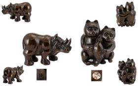 Japanese Carved Boxwood Netsukes ( 2 ) Depicts 1/ Two Cats Holding a Large Fish, Signed to