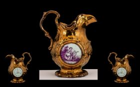Staffordshire Antique Moulded Copper Lustre Jug - circa 1820 - 1830's, with an unusual clock face to