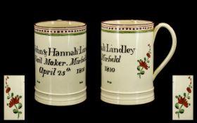 Luddite Interest Rare And Documentary George III Creamware Mug, Marked And Dated. '' John & Hannah
