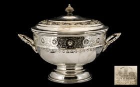 Large Viners Silver Plate Tureen. Circa 1950s, ornate design raised on a pedestal with matching