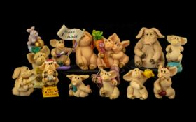 Collection of Hand Made Novelty Piggin Figures (11) in total. To include Piggin birthdays, Your