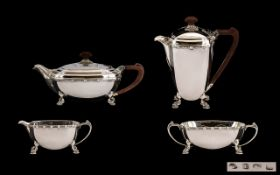 A Superb Quality and Attractive Art Deco Period Matched 4 Piece Sterling Silver Tea and Coffee