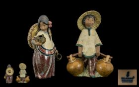 Lladro Gress Pair of Figures 1. Chinese Boy model no 2153 issued 1985-190, height 7.5 inches 18.75