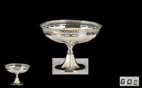 1920's Nice Quality Sterling Silver Gallery Set Sweetmeat Pedestal Bowl of small proportions on