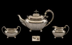 Bachelors - Sterling Silver Attractive 3 Piece Tea Set of Small Proportions, All with Half Fluted