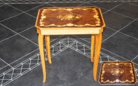 Italian Musical Inlaid Sewing Table with