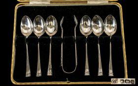 1920 Nice Quality Set of Six Silver Tea
