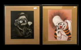 Two Large Clown Paintings by Jonathan We