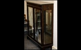 Dark Wood Glass Front Display Cabinet wi