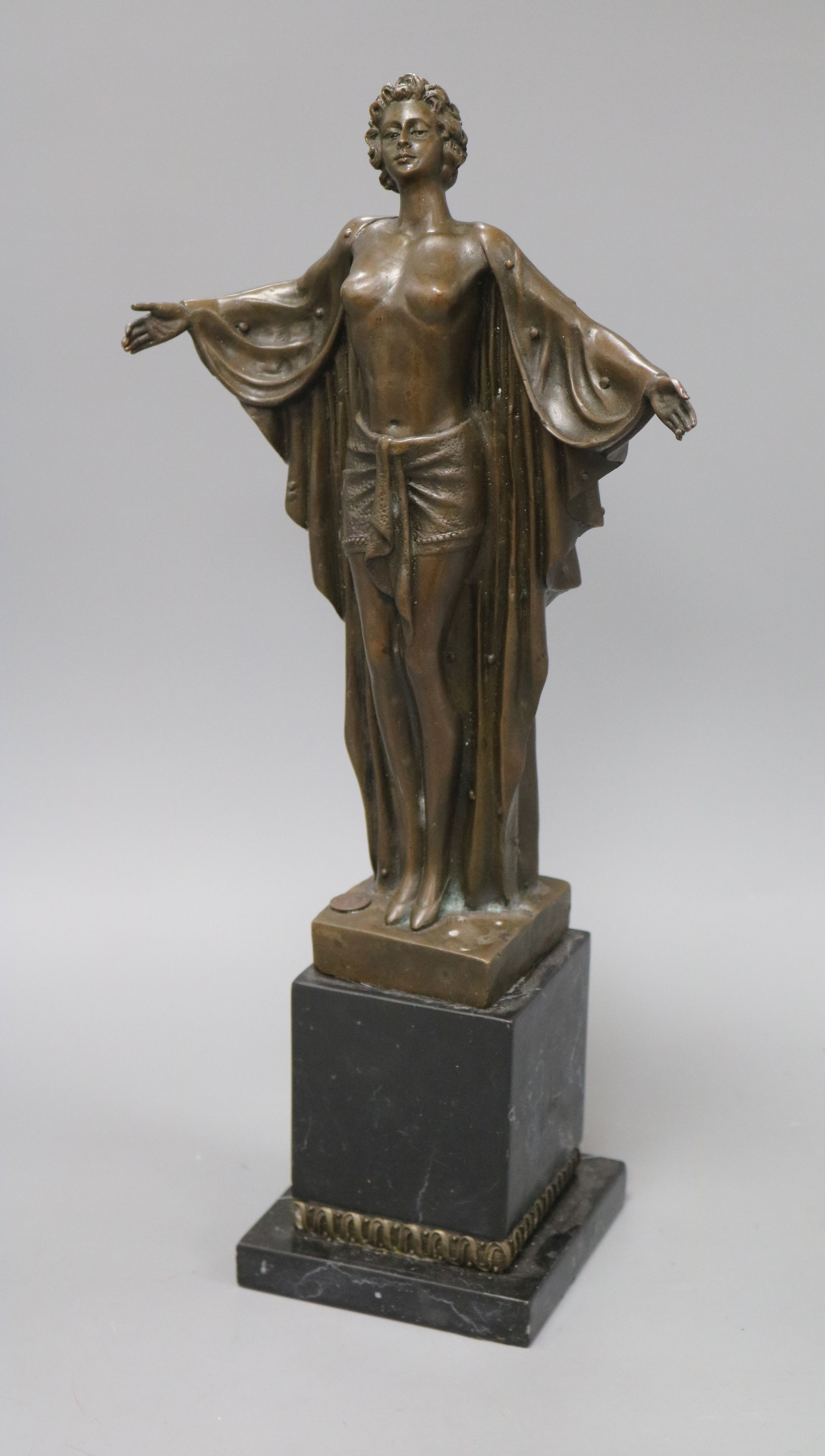 Lot 44 - An Art Deco style bronze figure of a lady wearing a robe, on marble base, signed D.H. Chiparus