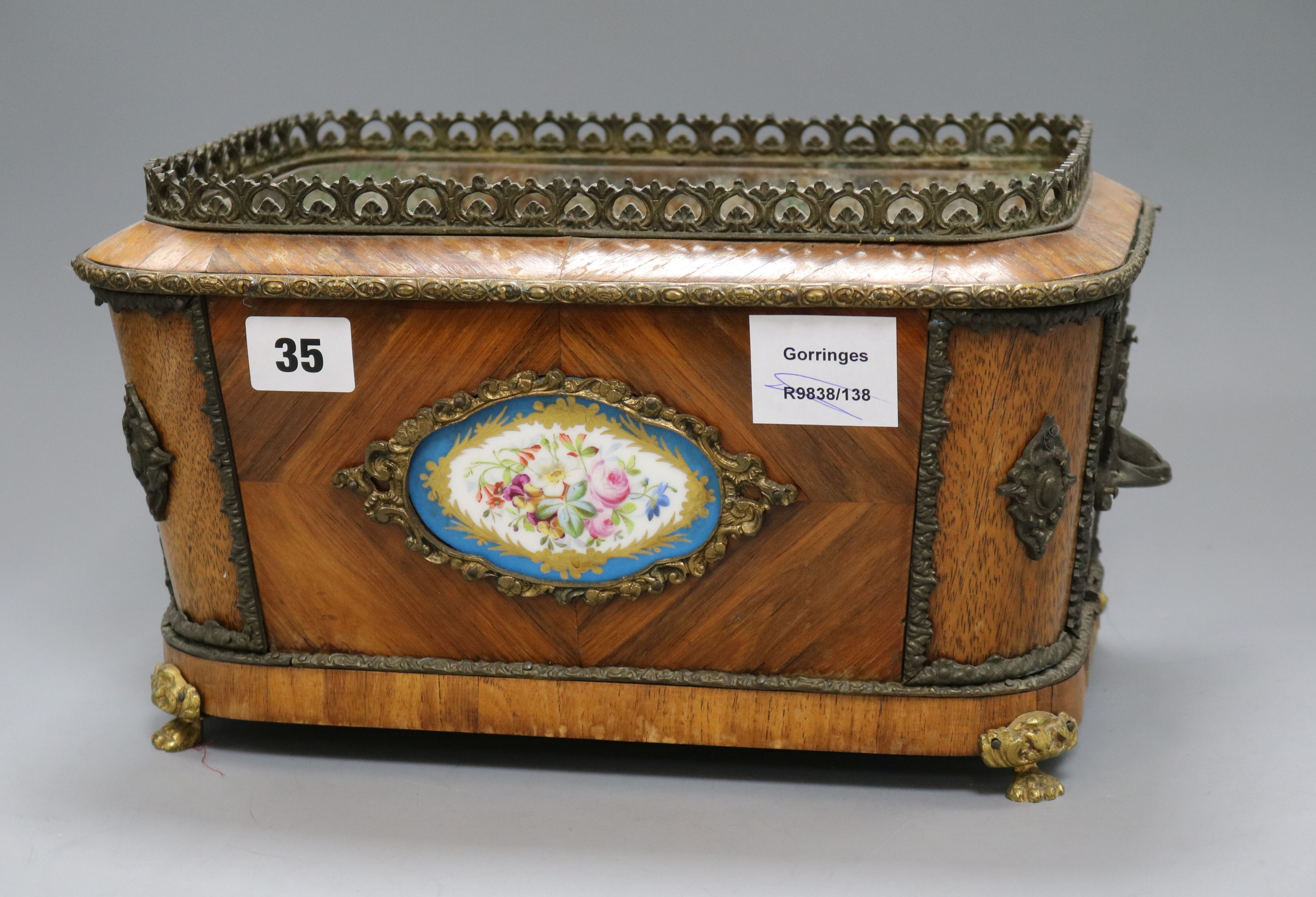 Lot 35 - A 19th century French ormolu mounted jardiniere height 18cm