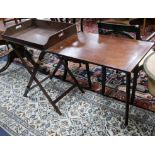 Lot 896 - A Victorian mahogany campaign butlers tray on stand with companion serving table W.144cm with leaf